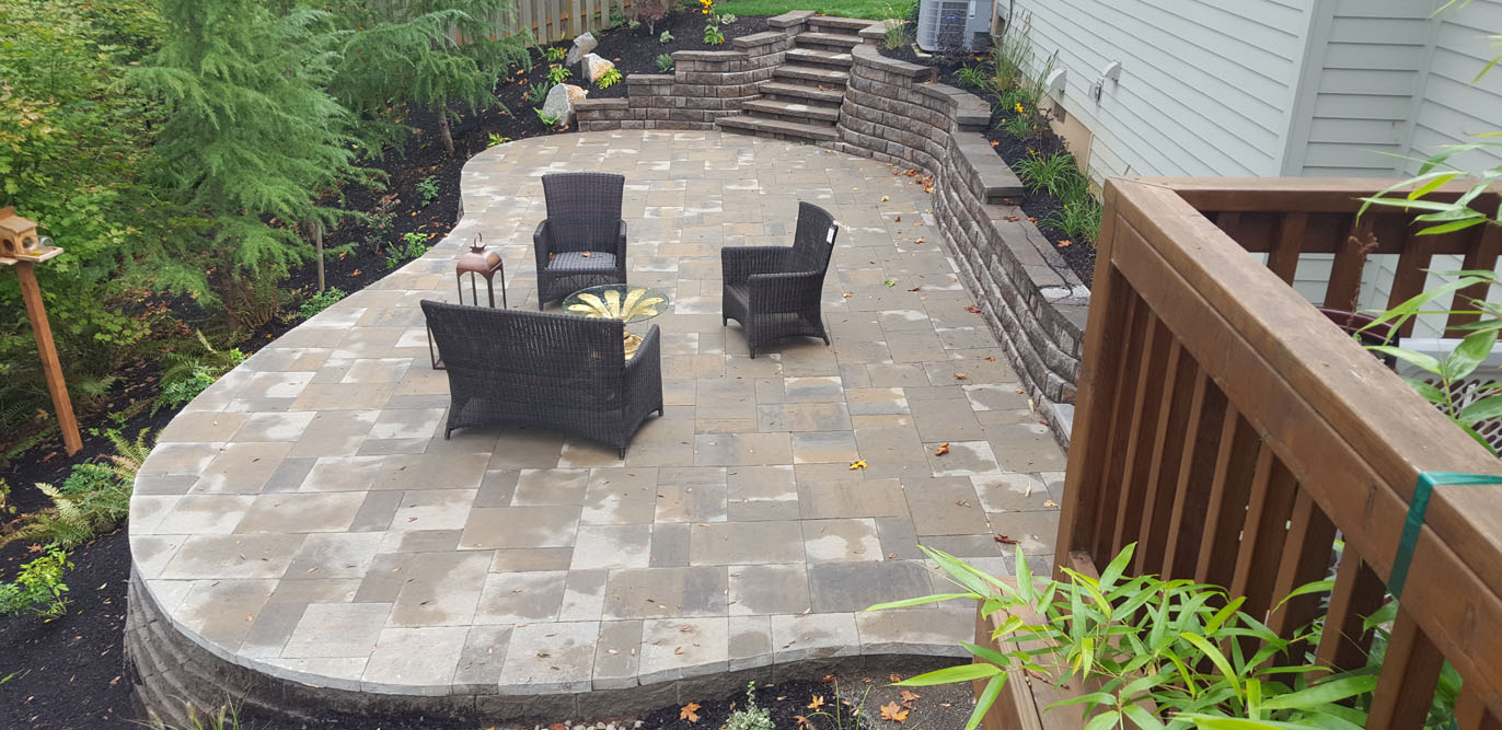 Patio hardscape and stairs install